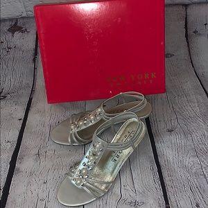 New York Transit silver heels
